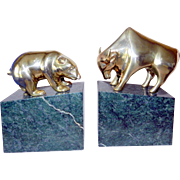 Beautiful Mid-Century  Vintage Marble Bookends Bear & Bull Stock Market Wall Street