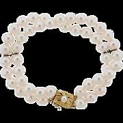 Gorgeous Vintage 18k Gold Mikimoto Double Multi Strand 7-7.5mm Cultured Pearl Bracelet