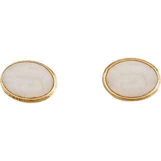 "Stunning ""Ming's"" 14K Yellow Gold Stud Pierced 0.55"" Earrings Featuring Oval Jadeite Cabochons"