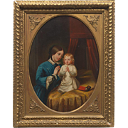 "Stunning ""Mother and Child Prayers"" Original Oil Painting Unsigned from The Continental School (late 19th century)"