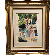 Vintage Mother Child Girl Watercolor Painting Drawing from Sarah Kadlic Art Studies 1980 Gold Gilt Frame