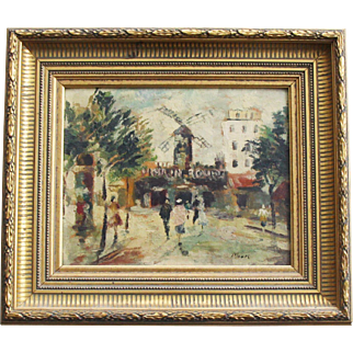 Stunning Mid Century 1940s 1950s French Moulin Rouge Paris Street Oil Painting
