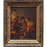 Beautiful Original Oil on Tin in Gilt Wood Frame After Bartolomé Esteban Murillo (1617–1682) 19th Century Art