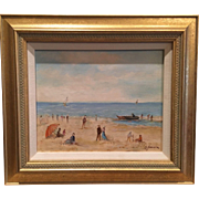 Stunning and Beautiful Michel Jamart Listed French Artist Original Oil Painting Seascape Impressionist Beach