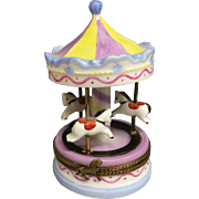 Wonderful Large Vintage Pastel Nursery Limoges Trinket Box Merry-Go-Round