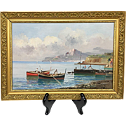 Beautiful Vintage Mid-Century Estate Boating Seascape II Italy Original Oil Painting by Listed Italian Artist N. Petrilli