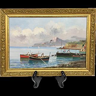 Beautiful Vintage Mid-Century Estate Boating Seascape II Italy Original Oil Painting by Listed Italian Artist N. Petrilli