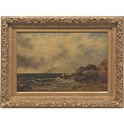 """Beautiful Calm Seascape Original Oil Painting on Canvas, Ornate Gilt Wood Frame, Continental School, Late 19th Century sized at 24x32"""""""
