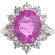 Stunning and Impressive RARE Large Rare NATURAL Pink 4.0cttw  Sapphire and 1.56cttw G/H VS1 Diamond Ring
