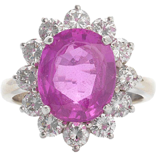Stunning and Impressive Pink Sapphire and 1.56cttw VS Diamond Ring