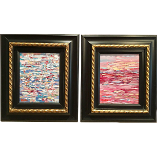 "Pair ""Abstract Land & Sea Pinks Blues Impasto Color Study II"", Original Oil Paintings by artist Sarah Kadlic, Framed 15x17"""