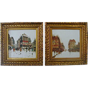 Beautiful Vintage Mid Century Deco 1930s-1940s Original Oil Paintings on Tile - Stunning Gilt Wood Period Frames