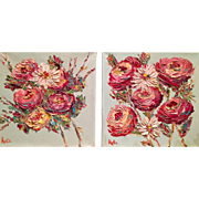 """Abstract Poppies Pair"", Original Oil Painting by artist Sarah Kadlic."