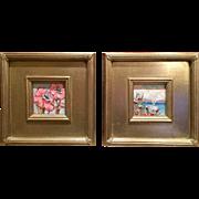 """Pair of Wild Flower Oils"", Original Oil Painting by artist Sarah Kadlic"