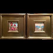 """Pair of Wild Flower Oils"", Original Oil Painting by artist Sarah Kadlic, Gilt Wood Silver Leaf Frames 10x10"""