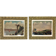 Vintage Mid Century Retro Original Pair Paintings Rossi Gilt Wood Frames 8x10""
