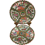 Absolutely Lovely Pair Rose Medallion Asian Scalloped Porcelain Plate Pair from the 1900s