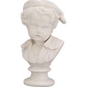 Antique 1900's Beautiful Sweet White Parian Bust Sculpture of a Child 7.5""