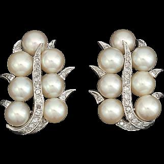 Stunning 1940s Art Deco Estate Vintage G/H VS Diamond 14k White Gold Earrings Bridal