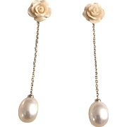 """Stunning 18 Karat Gold White, Carved Rose and Cultured Pearl Earrings, 2"""""""