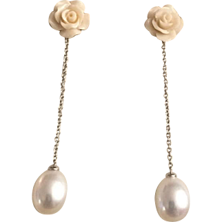 Stunning 18 Karat Gold White, Carved Rose and Cultured Pearl Earrings, 2""