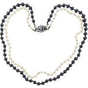 Stunning Vintage Estate Cultured 7-8mm Pearl, Hematite, Diamond, Sapphire 18k Gold Clasp Beaded Double Strand Necklace