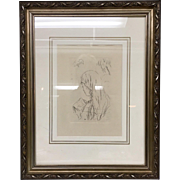 "Pierre Bonnard ""Jeune Fille Lisant"" (Young Girl Reading) Etching Posthumous 1965 Edition Etching framed is approximately 16x20"" - Red Tag Sale Item"