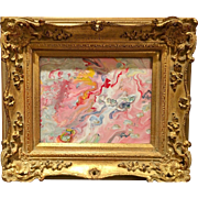 """Abstract Pink & White Marbling"", Modern Original Acrylic Painting by artist Sarah Kadlic, French Gilt Leaf Frame"