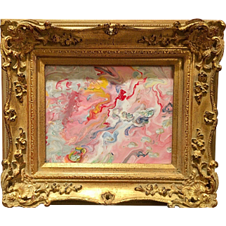 """""""Abstract Pink & White Marbling"""", Modern Original Acrylic Painting by artist Sarah Kadlic, French Gilt Leaf Frame"""