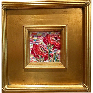 """Abstract Impasto Poppies"", Original Oil Painting by artist Sarah Kadlic, 10.5"" Gilt Framed"