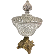 Beautiful Mid Century 1940s 1950s Pressed Glass Lidded Candy Dish Compote with Brass Footed Bottom