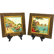 Wonderful Vintage Pair Mid-Century 1950s Original Oil Paintings on Tile Signed by Listed Artist Antonio De Vity