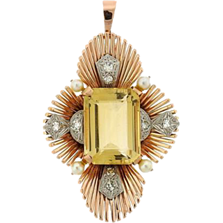 Breathtaking Impressive Raymond Yard French 14k Gold Yellow, Platinum 950 and Diamond Pearl Citrine Leaf Brooch / Pendant / Pin, 1940s - 1950s