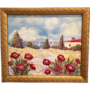 Floral Riviera Seascape Beach Poppies Rose Carved Frame