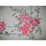 Beautiful Floral Roses 1950s Mid Century Vintage Bark Cloth Tablecloth, 51x53""