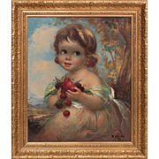 "Stunning Rufino ""Cabal"" Ceballos (1907-1970) Oil Painting Gilt Frame"