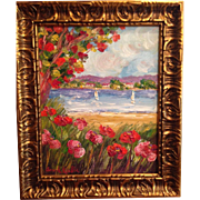 "Abstract Floral Poppies Seascape, Original Oil Painting by Artist Sarah Kadlic, 16x20"" Plus Solid Wood Larson Juhl Gilt Frame"