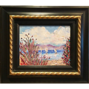 """Sailboats Seascape Abstract"", Original Oil Painting by artist Sarah Kadlic, 13x17"" Gilt Wood Frame"