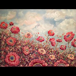 """Abstract Wild Poppies"", Original Oil Painting by artist Sarah Kadlic, 40""x30"""