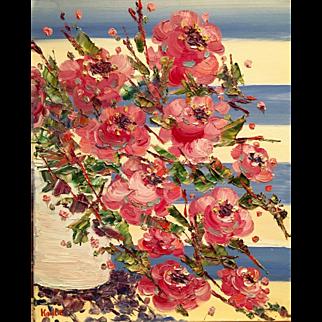 """French Wild Flowers on Blue & White Stripes"", Original Oil Painting by artist Sarah Kadlic, 16x20"""