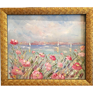 """""""French Sailboat Seascape with Pink Flowers"""", Original Oil Painting by artist Sarah Kadlic, 24x20"""" Gilt Frame"""