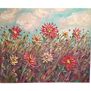 """French Wild Poppies"", Original Oil Painting by artist Sarah Kadlic, 24x20"""