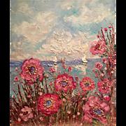 """Impasto Seascape Wild Poppies"", Original Oil Painting by artist Sarah Kadlic, 24""x20"""