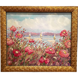 """Abstract Seascape Wild Pink Flowers"", Original Oil Painting by artist Sarah Kadlic, 24x20"" Gilt Frame"