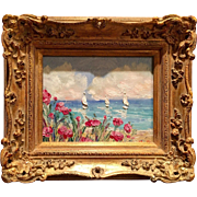 """French Sailboat Seascape & Poppies"", Original Oil Painting by artist Sarah Kadlic, 13x15"" Gilt Frame"