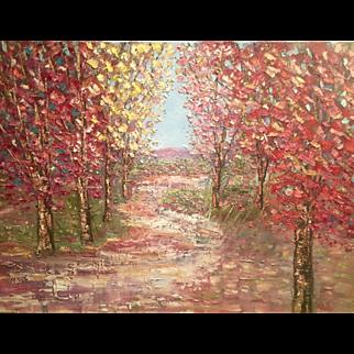 """Abstract Autumn Trees Fall Landscape Impasto"", 40x30"" Original Oil Painting by artist Sarah Kadlic"