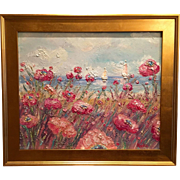 """French Seascape Sailboat Riviera Poppies"", Original Oil Painting by artist Sarah Kadlic, 24x20 Gilt Framed"