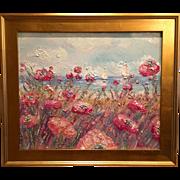 """French Seascape Sailboat Riviera Poppies"", Original Oil Painting by artist Sarah Kadlic, 24x20 Gilt Framed"