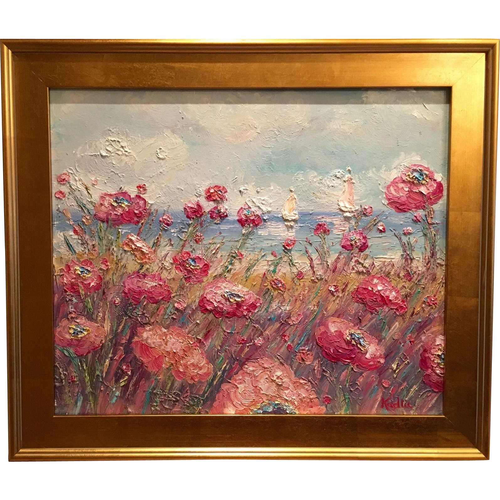 French Seascape Sailboat Riviera Poppies\