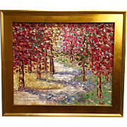 """Abstract Fall Trees Landscape"", Original Oil Painting by artist Sarah Kadlic, 24x20"" Gilt Framed"